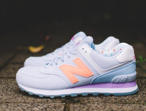 Pair of new balance trainers showing the N logo on the side