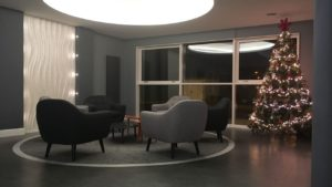 A different view of the foyer with office partitions Glasgow