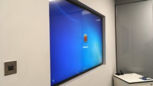 TV embedded in office partitions Glasgow