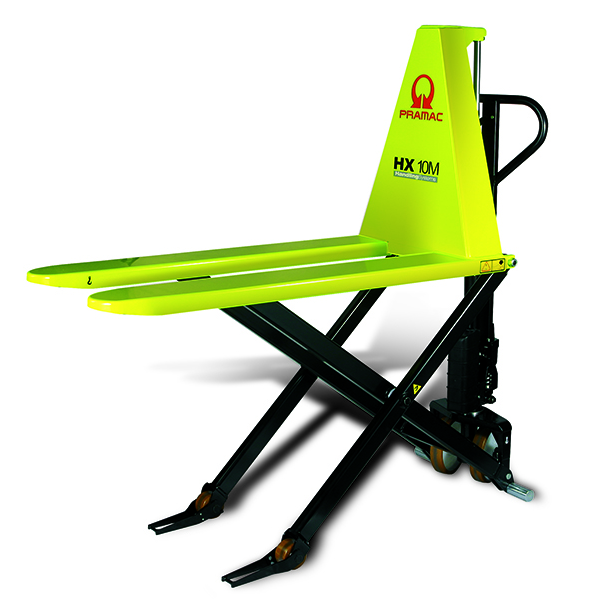 This is what a neon yellow electric pallet lift would look like.